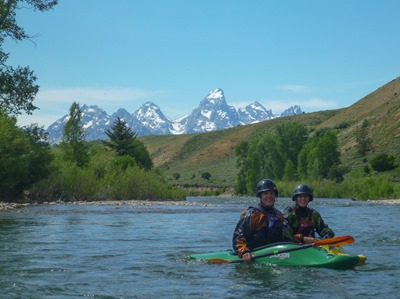 Stacey and Cindy Fornstrom on the Gros Ventre River with the Tetons