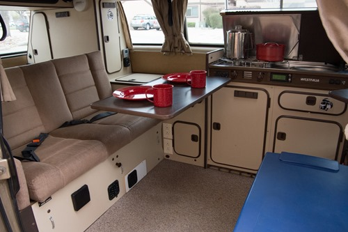 Clean, fully functional camper interior