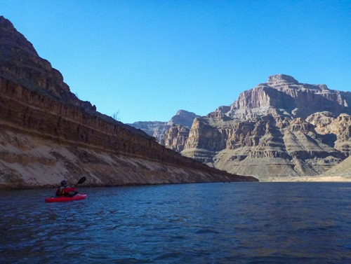 """The 25' wall to the left of Susan is known as the """"silt flats"""" and is below the previous height of Lake Mead"""